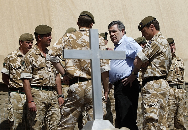 Gordon Brown Makes Surprise Visit To Afghanistan Photograph by WPA Pool