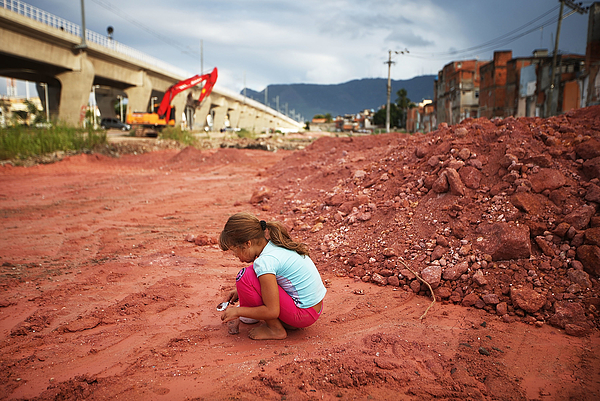 Government Construction in Rio Favela Affects Childrens Health Photograph by Mario Tama