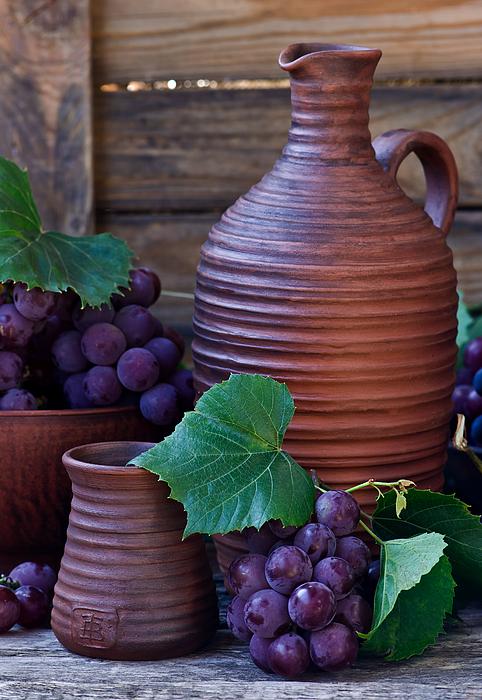 Grape and wine Photograph by Zoryana Ivchenko