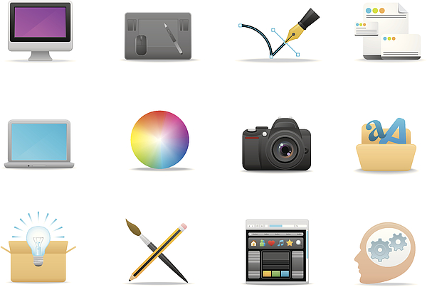 Graphic Design icons   Premium Matte series Drawing by Runeer