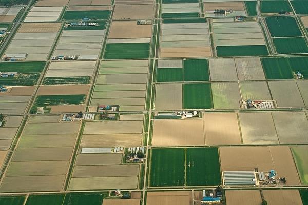 Green Fields In Naganuma Town In Hokkaido Daytime Aerial View From Airplane Photograph by Taro Hama @ e-kamakura
