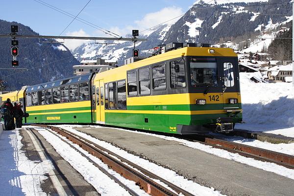Grindelwald - ski terrain train arriving Photograph by Pejft