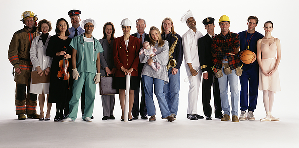 Group of people with different occupations smiling, portrait Photograph by Lwa