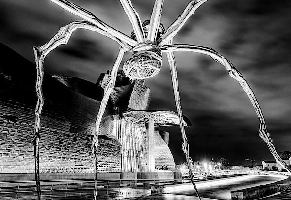 Guggenheim And Spider Bilbao Spain Bw Photograph