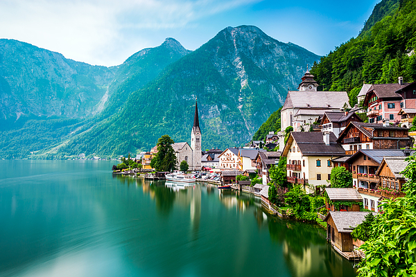 Hallstatt Village and Hallstatter See lake in Austria Photograph by Chunyip Wong