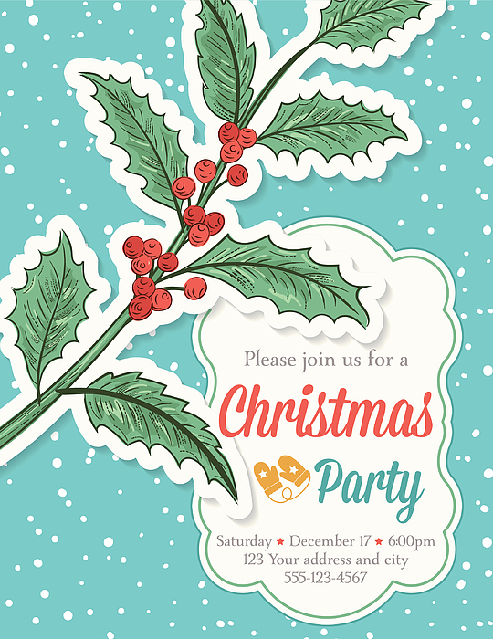 Hand Drawn Christmas Party Template With Holly And Snowflakes Drawing by Diane555