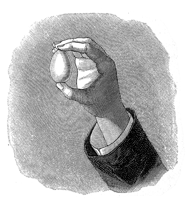 Hand holding egg Drawing by Nastasic