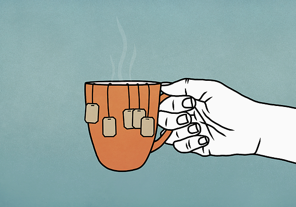 Hand holding mug with many tea bags Drawing by Malte Mueller