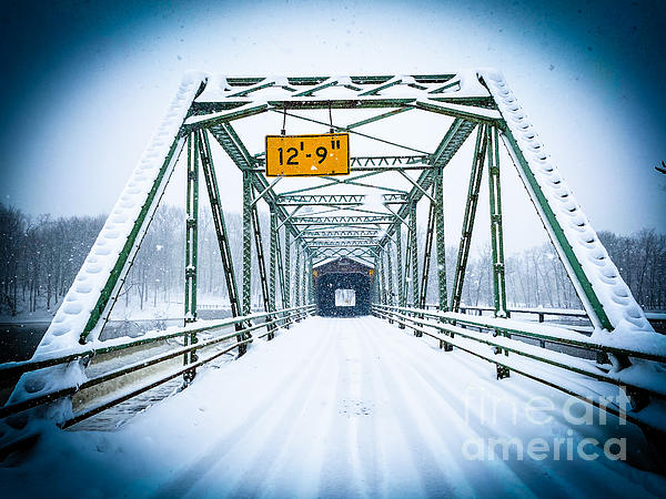 Harpersfield Covered Bridge Christmas Photograph
