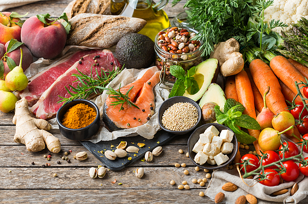 Healthy food for balanced flexitarian mediterranean diet concept Photograph by Aamulya
