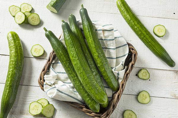 Healthy Organic Green English Cucumbers Photograph by Bhofack2