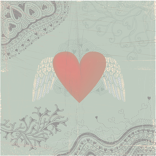 Heart With Wings On Seamless Doodle Background Drawing by Beastfromeast
