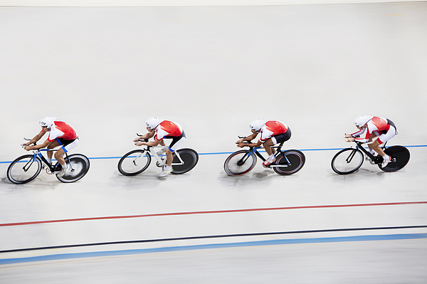 High angle view of competitors in bicycle race Photograph by Clerkenwell
