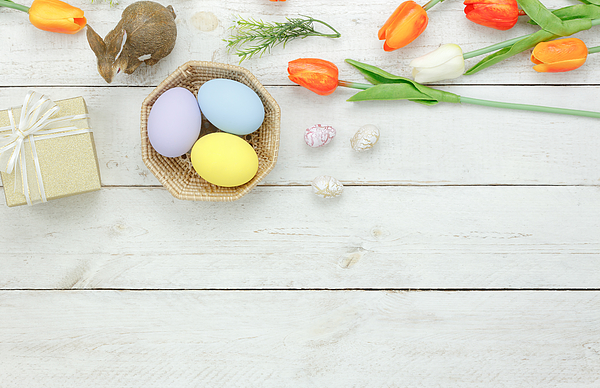 High Angle View Of Easter Eggs In Bowl On Table Photograph by Chattrawutt Hanjukkam / EyeEm