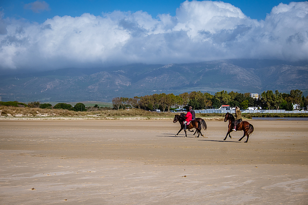 Horses And Horseriding From Riding School On The Beach Of Los Lanches In Tarifa Photograph by Finn Bjurvoll Hansen