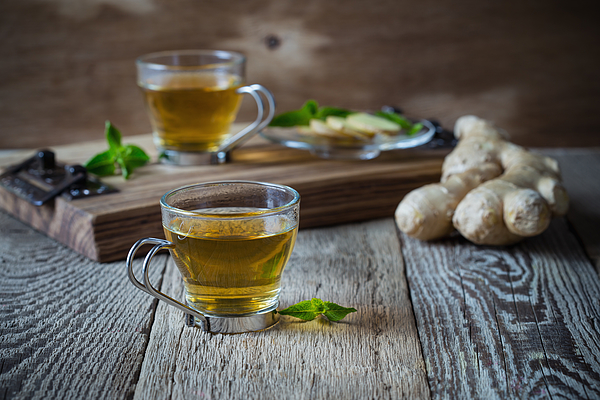 Hot ginger and mint tea, homemade green tea health benefits Photograph by Istetiana