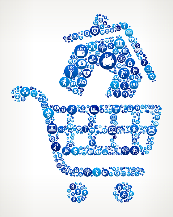 House Shopping  Money Blue Icon Pattern Background Drawing by Bubaone