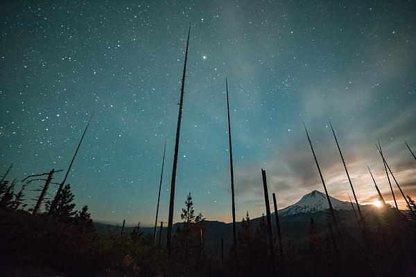 Incredible moonset and stars on Mt. Hood from the Hood River Valley Photograph by Tyler Hulett