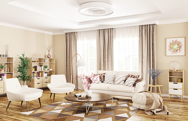 Interior of modern living room 3d rendering Photograph by Scovad