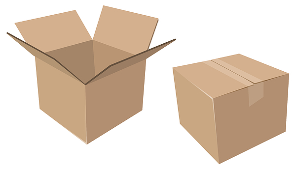 Isolated Cardboard Moving Boxes, Open And Closed Drawing by KeithBishop