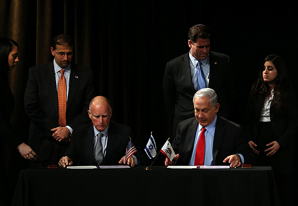 Israeli Prime Minister Netanyahu Meets With California Gov. Jerry Brown In San Francisco Photograph by Justin Sullivan