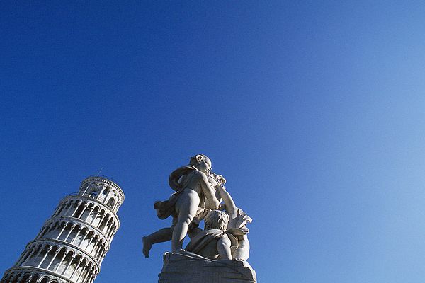 Italy, Pisa, Leaning Tower And Statue Photograph by James Hardy