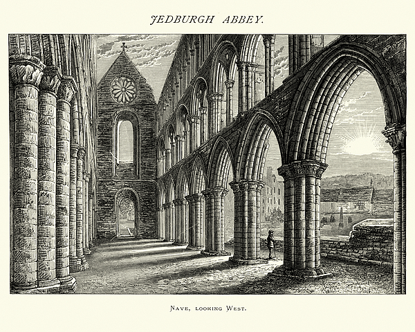 Jedburgh Abbey, Nave looking west, Scotland, 19th Century Drawing by Duncan1890
