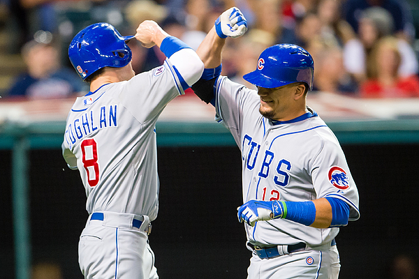 Kyle Schwarber and Chris Coghlan Photograph by Jason Miller