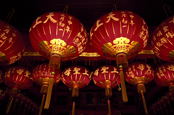 Lanterns in Chinese temple Photograph by Andrea Pistolesi