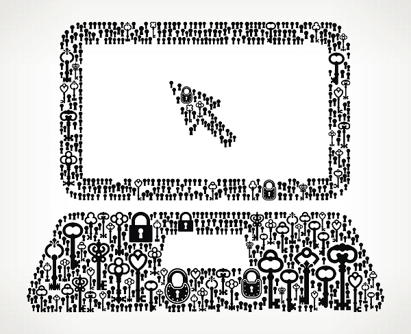 Laptop and Cursor Antique Keys Black and White Vector Pattern Drawing by Bubaone