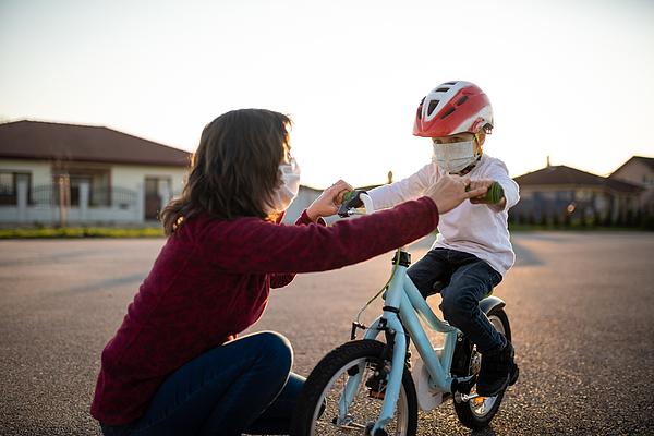 Learning bicycling during corona virus pandemic Photograph by Martin Novak