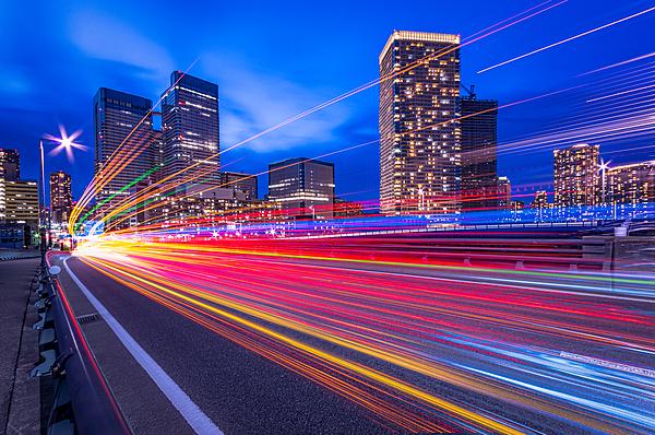 Light Trails Of Harumi Street Photograph by Shingo Tamura