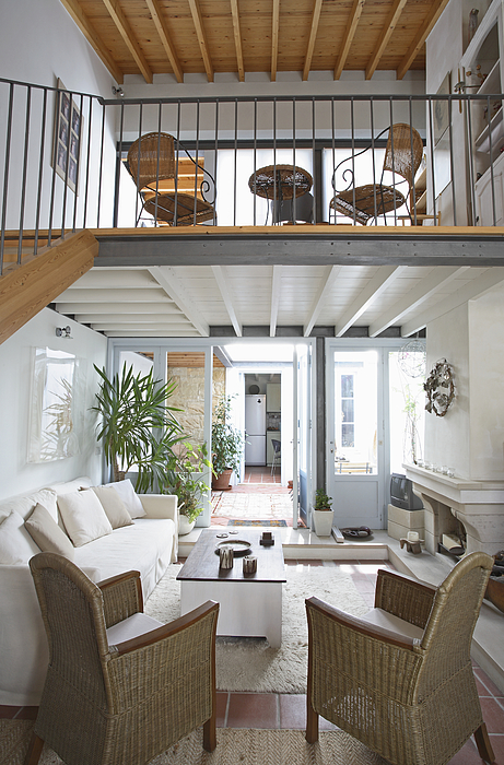 Living room with mezzanine Photograph by Andy Sotiriou