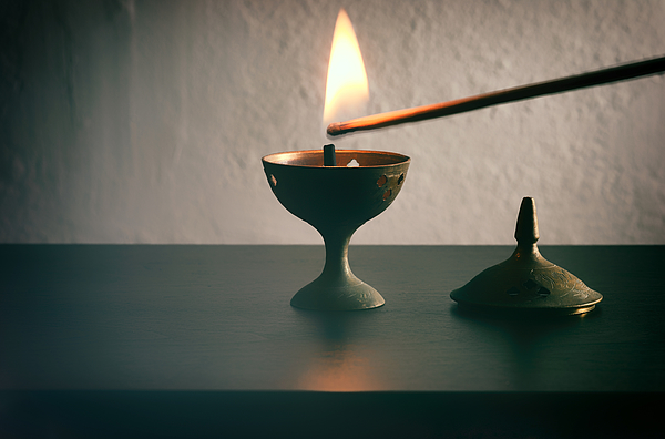 Long Match Lighting An Incense Cone. Photograph by Harpazo_hope