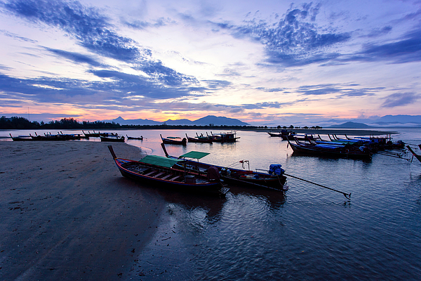 Longtail Boat At Bang Ben Beach In Sunrise Time Photograph by Pakin Songmor