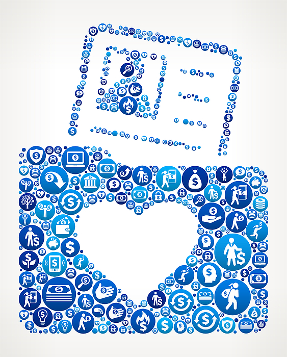 Love Folder And Candidate Profile Money Blue Icon Pattern Background Drawing by Bubaone