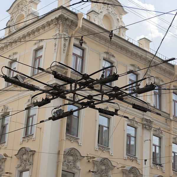 Low angle view of electric cables Photograph by Fotosearch