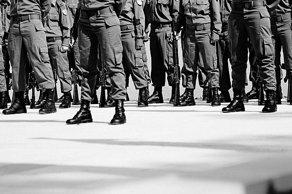 Low Section Of Military Soldiers Marching On Street Photograph by Dina Alfasi / EyeEm