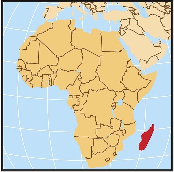 Madagascar Locator Map Drawing by Globe Turner, LLC