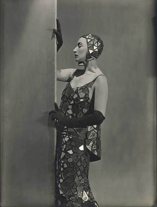 Madame Eloui Bey in Lucien Lelong Mirrored Costume Photograph by George Hoyningen-Huene