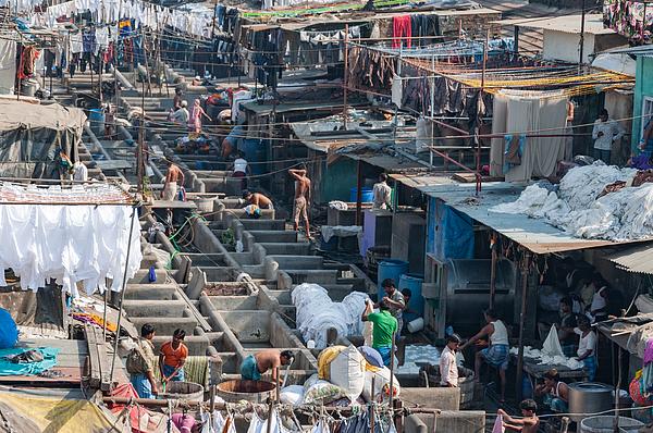 Mahalaxmi Dhobi Ghat, Mumbai, India - Worlds largest outdoor laundry. Photograph by Malcolm P Chapman