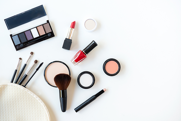 Makeup cosmetics tools background and beauty cosmetics, products and facial cosmetics package lipstick, eye shadow on the white background. Lifestyle Fashion Concept Photograph by Wand_Prapan
