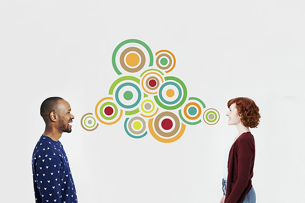 Man and woman with illustrated bubbles Photograph by Plume Creative