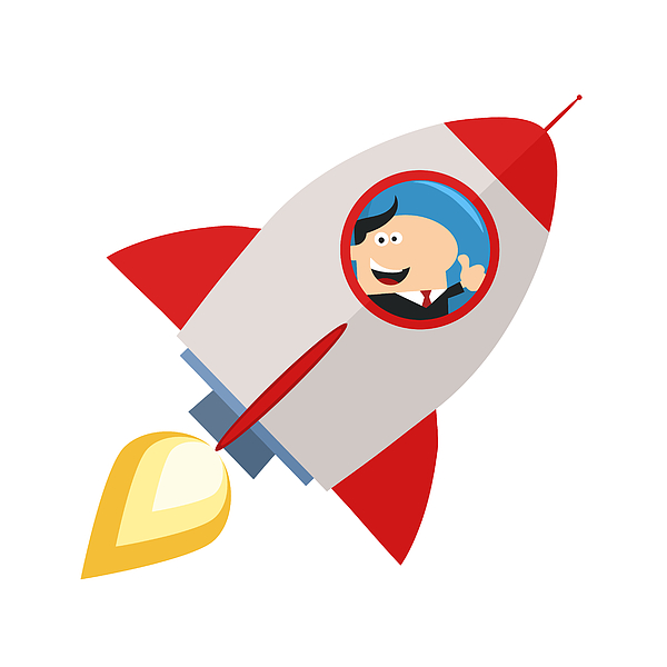 Manager Launching A Rocket And Giving Thumb Up Drawing by Chud