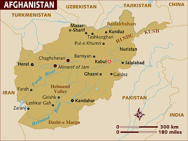 Map of Afghanistan. Drawing by Lonely Planet
