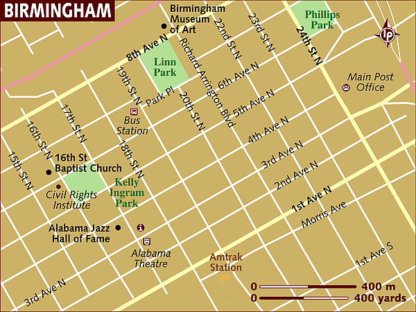 Map Of Birmingham. Drawing by Lonely Planet