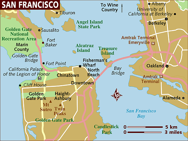 Map of San Francisco. Drawing by Lonely Planet