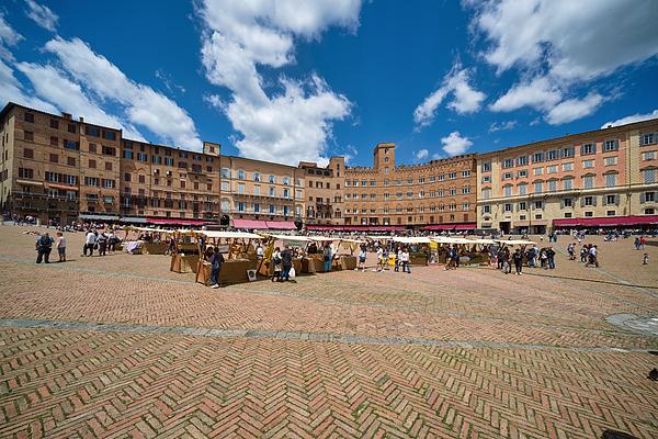 Market in Siena, Piazza del Campo, Tuscany Photograph by Mauro Tandoi
