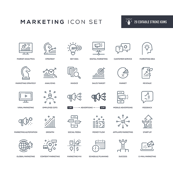 Marketing Editable Stroke Line Icons Drawing by Enis Aksoy