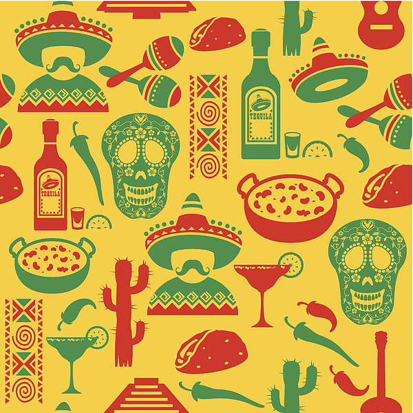 Mexican Seamless Pattern Drawing by TheresaTibbetts